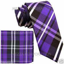 """New Men's Vesuvio Napoli plaid 2.5"""" skinny Neck Tie Necktie & Hankie set Purple"""