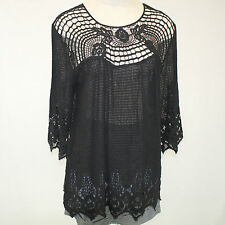 NEW XCVI Plus Size Black Lace Knit 100% Cotton Lagenlook Tunic Blouse 2X