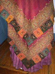 C1860 Kashmiri Fold Over Paisley Shawl Embroidered Gates Silk + Wool BurgundyCtr