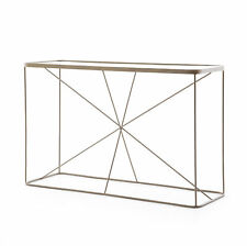 "48"" L Gustav Console Sofa Table Solid Iron Tempered Glass Antique Brass Modern"
