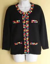 MICHAEL SIMON Colorful Detailed Funky Fun Cardigan Sweater Jacket Sz M