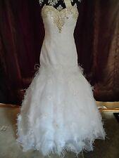 Christina Wu 15479 White Wedding Dress with feathers Size 12