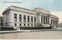 Antique POSTCARD c1907-20 State Library HARTFORD, CT CONN. Unused