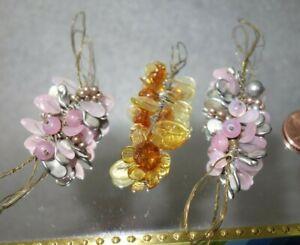 3   Vintage Czech Art DECO   figural  Glass  FLOWER   Jewelry pieces  CABOCHONS