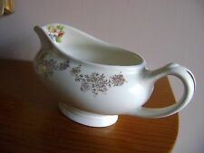 Vintage Antique ? Empire gravy boat creamy white with gold and flower design