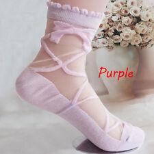 2017 Women Lady Bowknot Sheer Mesh Knit Frill Trim Transparent Ankle Socks Purple