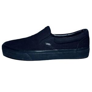 VANS Classic Slip On All Black Canvas Low Top Skate Shoes Men Size 10 Women 11.5