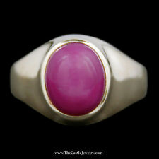 Men's Cabochon Red Lindy Star Ring w/ Polished Sides in 14k Yellow Gold