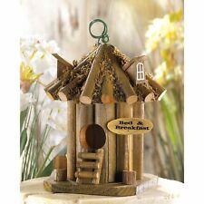 "Bed And Breakfast Birdhouse - 9"" High - Wood & Metal - Brown"