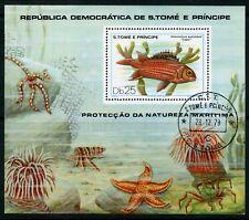 Weeda Sao Tome & Principe 554 VF CTO S/S of 1, 1979 FIsh topical CV $14