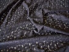 FLORAL COTTON LACE-BLACK-DRESS/BRIDAL FABRIC-FREE P&P