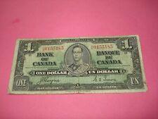 1937 - $1 Canada note - Canadian one dollar bill - UN0155185