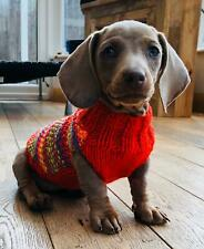 """9"""" Hand Knitted Minature Dachshund. Daxie. Doxie. Tiny Puppy Jumpers / Coats."""