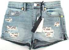 NEW Womens Juicy Couture Stone Wash Leopard Patches Denim Shorts Size 24 AU 6