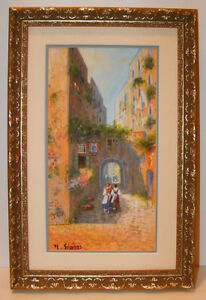 1897 ITALIAN GOUACHE NAPOLI STREET SCENE BY  GIANNI, Listed