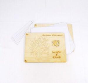 Geschenk zum Hochzeitstag, zum Geburtstag, Fotobuch Gästebuch mit Holzcover