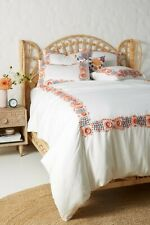 Anthropologie Embroidered Petunia Duvet Cover King Size Floral Border New