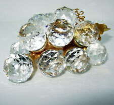 Swarovski Silver Crystal 15 Grape Bunch 4 inch gold tone leaves paperweight