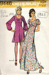 "1971 Vintage Sewing Pattern B38"" DRESS (1926)"