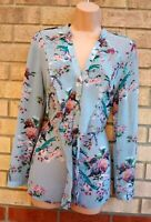 OASIS BLUE PINK FLORAL BIRDS PRINT CHIFFON BUTTONED FRILL SHIRT BLOUSE TOP 8 S