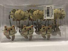Animal Cracker Shower Hooks Hangers Set Childrens Kids Bathroom Safari Neutral
