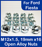 16x M12 x 1.5, 19mm Hex Open Alloy Wheel Nuts, For Ford Fiesta (Zinc)