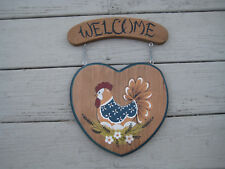 Welcome Sign Rooster Chicken Wood Wall Door Plaque Hand Painted Garden
