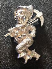 Vintage Pixie Elf Man  Silvertone Brooch Pin