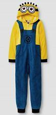 Despicable Me MINIONS Fleece Pajamas Boy's 10 NeW Zip-Up Hooded Union Suit Pjs
