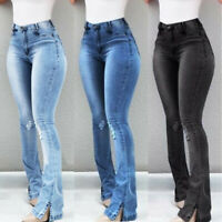 Ladys High Waist Retro Denim Jeans Stretch Slim Bell Bottom Pants Flare Trousers