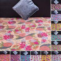 Fair Trade Floral Handmade Kantha Quilt Cotton Reversible Gudari Throw Bedspread
