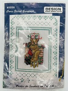 Design Works Counted Cross Stitch Christmas card kit unopened teddy noel