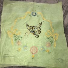 "Vintage Embroidered Finished Piece Boudoir 15"" Rd Pillow Butterfly Green Linen"