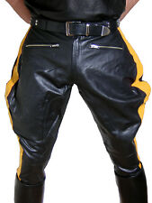 Lederhose gelbe Streifen Stiefelhose neu Breeches Motorradhose leather pants new