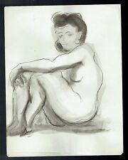 D10 - Dessin d'Etude Encre de Chine - Femme Nue - vers 1950
