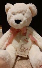 HAMLEYS Cream Plush Teddy Bear With Pink Bow & Fabric Tag!