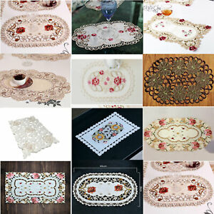 Set of 4 Placemat Dining Kitchen Table Mats Pad Vintage Embroidered Lace Doilies