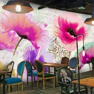 3D Purple Pink Poppy Flower Wall Mural Wallpaper Living Room Bedroom Lounge