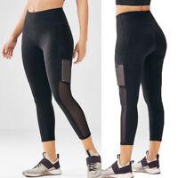 Women Capri YOGA Sport Pants Mesh Pocket Workout Running Gym Leggings Fitness N