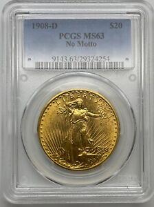 1908-D No Motto $20 SAINT GAUDENS Gold Double Eagle Coin PCGS MS63