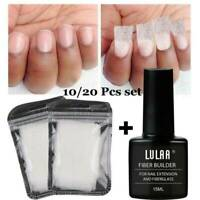 10/20Pc LULAA Nail Art Non-woven Silk Fiberglass Gel Tips Extension Fiber Kit UK