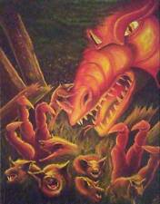 "New Dragon Chasing Pigs Fantasy Horror Art Print Science Fiction ""Pigging Out"""