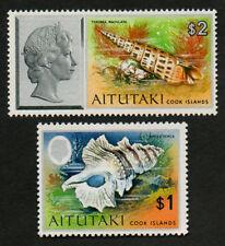 Aitutaki 1974 SG109 $2 Shell, SG108 $1 Shell,  MNH