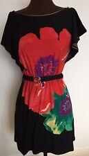 Beautiful vibrant flower print black dress sz S/M casual beach tunic red green
