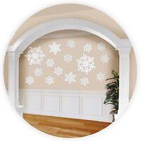 20 White Glittery Snowflakes Cutouts Festive Christmas Wall Decorations Snow UK