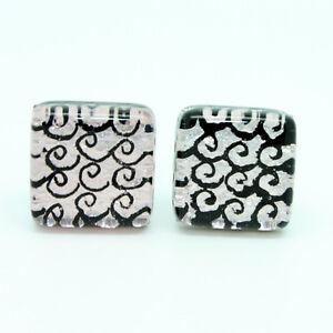 Silver Black Swirl Light Purple Hint Patterned Murano Square Handmade Cufflinks