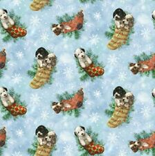 Fat Quarter Holiday Pups Dogs Christmas Allover Cotton Quilting Fabric - SPX