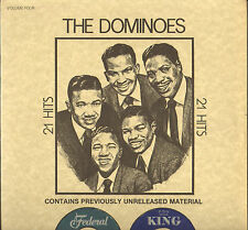 "THE DOMINOES ""21 HITS"" DOO WOP RHYTHM & BLUES LP 1977 KING 5008X"