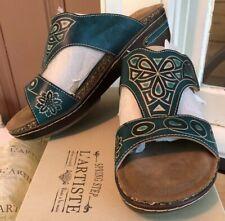 NEW L'Artiste Spring Step SOFTSTEP-N Blue leather T-strap slides 40 / 9 NIB Heel