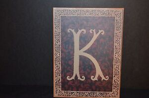 METAL WALL HANGING PLAQUE WITH LETTER K -NEW